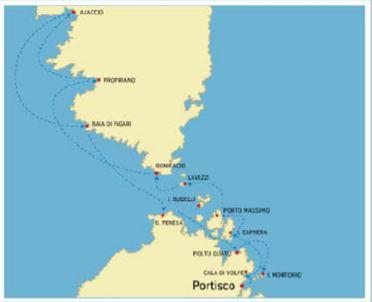 Itinéraire au départ de Portisco vers Ajaccio